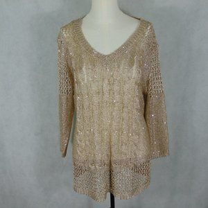 Lauren Michelle Shiny Gold Knit Lace top Size L
